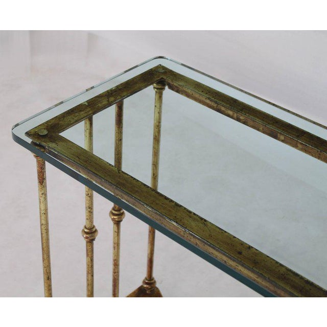 Gold Gold Gild Iron Base Glass Top Console Table For Sale - Image 8 of 9