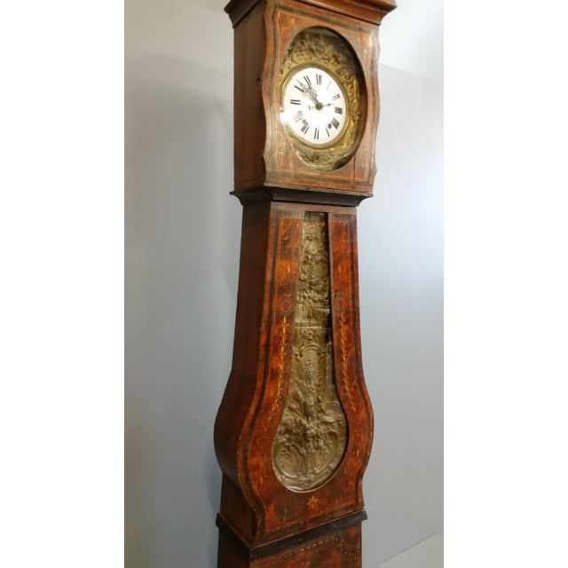 French Country Antique 19th Century French Grandfather Clock (Morbier) For Sale - Image 3 of 13