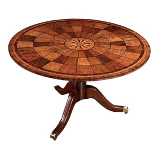 Scully & Scully Inlaid Mahagoney Tilt-Top Round Dining Table For Sale