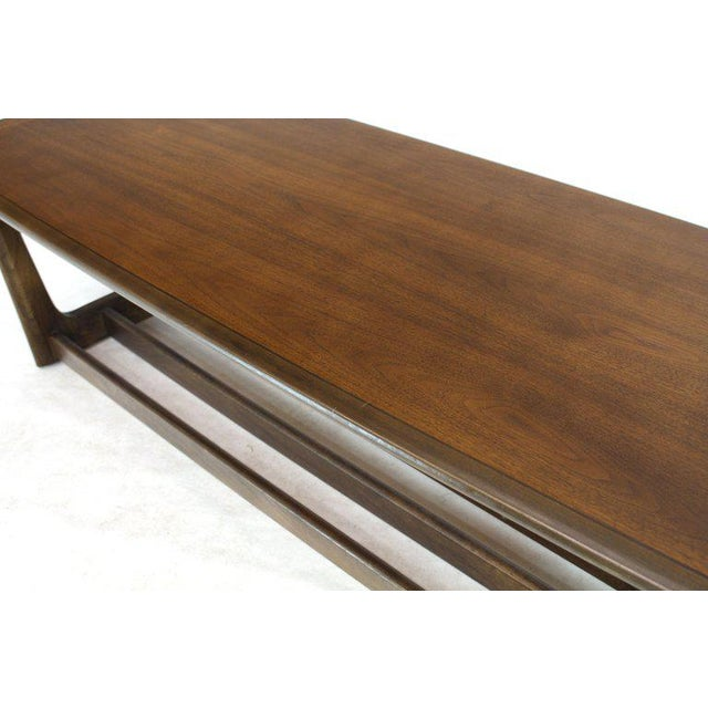 Mid-Century Modern Lane Rounded Rectangle Shape Two-Tier Walnut Coffee Table For Sale - Image 3 of 11