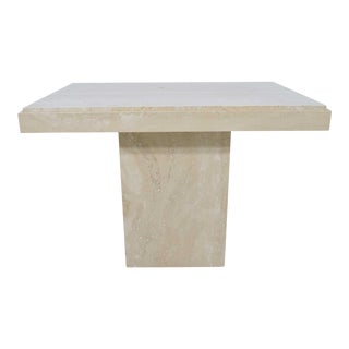 Travertine Marble Side Table For Sale