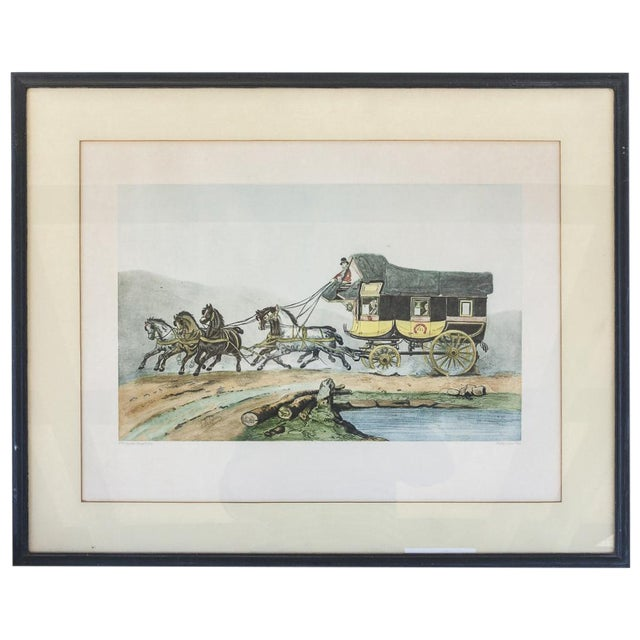 Vintage French Horse and Carriage Etching - Image 1 of 8