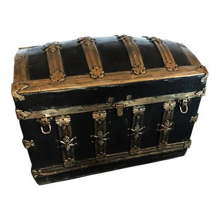 Antique Mediterranean Painted Trunk on Casters With Champagne Grape Details For Sale
