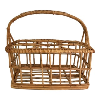 Vintage Mid-Century Wicker Wine Bottle Rack Carrier For Sale