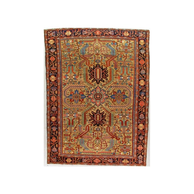 Textile Colorful Vintage Persian Heriz Rug For Sale - Image 7 of 7