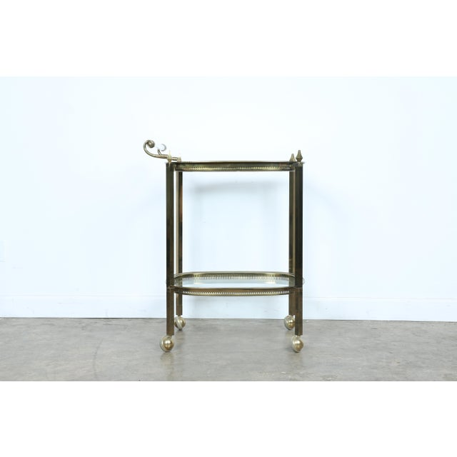 Mid-Century Gold-Tone Bar Cart - Image 2 of 11