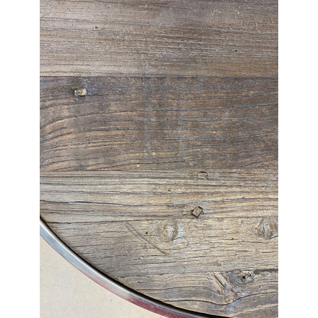 Chrome Reclaimed Wood and Polished Chrome Accent Table For Sale - Image 8 of 10
