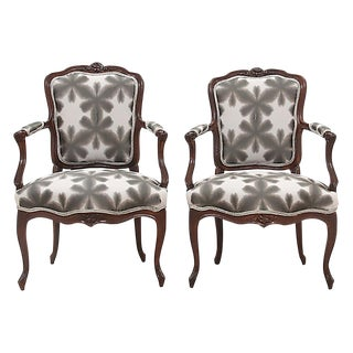 Scalamandre & Kravet Upholstered Louis XV Style Fauteuils, a Pair For Sale