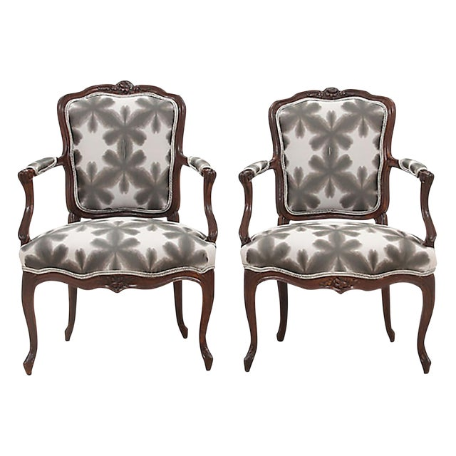 Scalamandre & Kravet Upholstered Louis XV Style Fauteuils, a Pair - Image 1 of 8