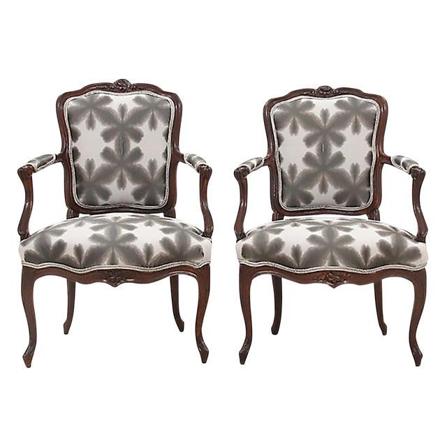 Scalamandre & Kravet Upholstered Louis XV Style Fauteuils, a Pair For Sale