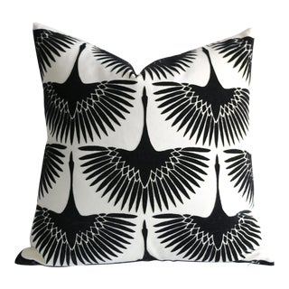 Onyx Velvet Swan Pillow For Sale