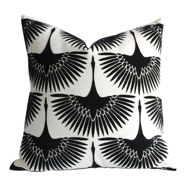 Onyx Velvet Swan Pillow For Sale
