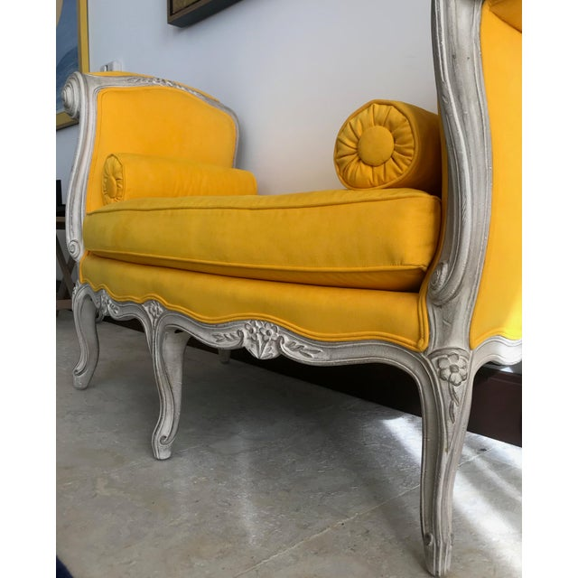 Canary Yellow 1900s Canary Yellow French Settee For Sale - Image 8 of 13