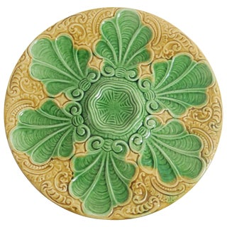 19th Century Art Nouveau Yellow and Green Majolica Oyster Plate