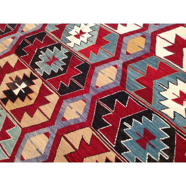 "Vintage Turkish Kilim Rug - 6'9"" x 9'3"" For Sale In Raleigh - Image 6 of 7"