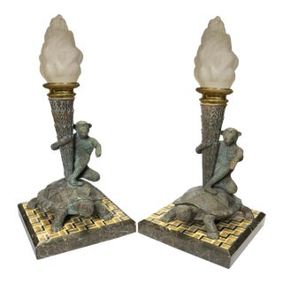 1920s Italian Figural Patinated Bronze Candelabra Mounted Pietra Dura Marble - A Pair For Sale
