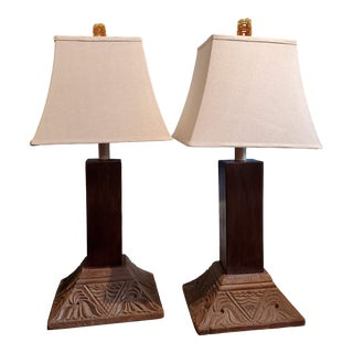 19th Century Indonesian Teak Column Base Table Lamps - a Pair For Sale