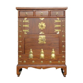 Chinese Korean Brown Gourd Motif Cabinet