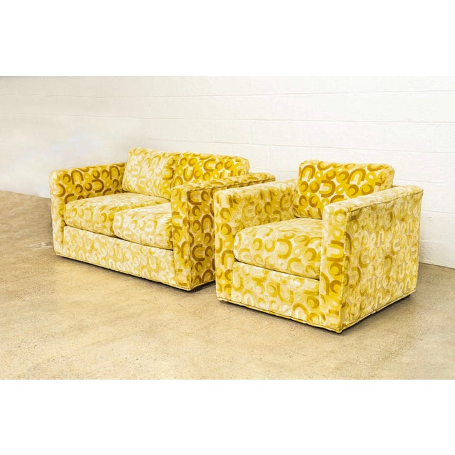 Mid Century 1970s Yellow Loveseat and Lounge Chair For Sale - Image 4 of 12