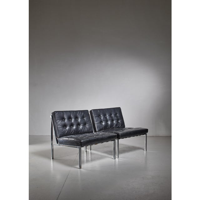1950s Pair of Kurt Thut Side Chairs with Black Leather Tufted Cushions For Sale - Image 5 of 5