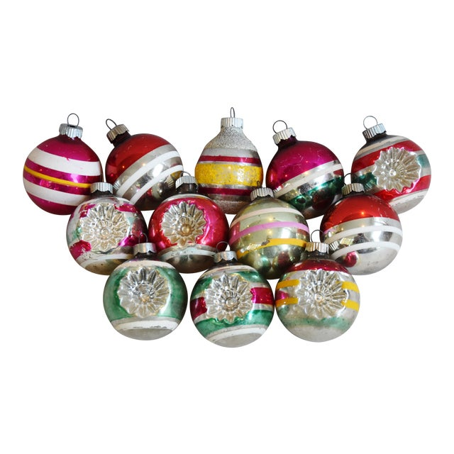 Retro Midcentury Colorful Christmas Tree Ornaments W/Box - Set of 12 For Sale