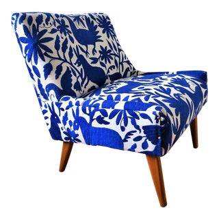 Mid-Century Bohemian Cobalt Blue Otomi Hand Embroidered Lounge Chair For Sale