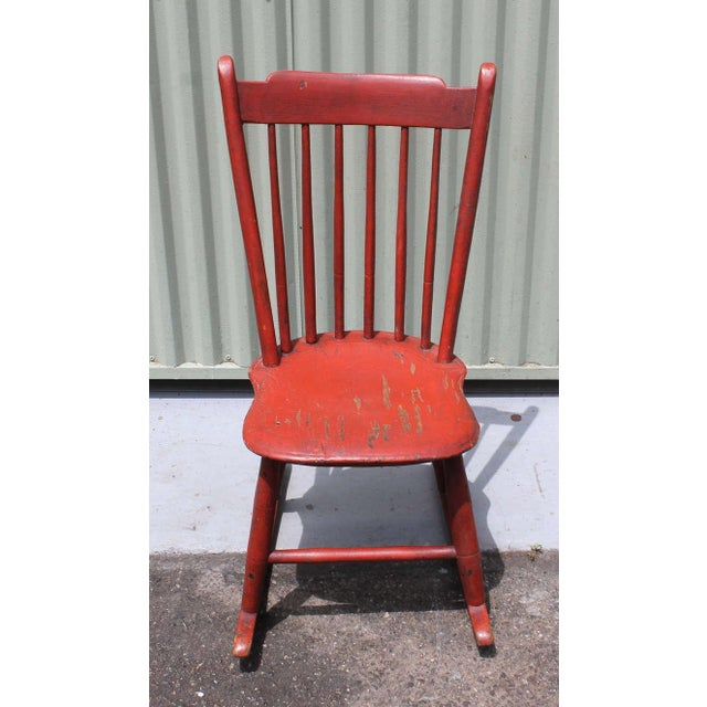 Mid 19th Century 19th Century Original Salmon Painted Windsor Rocking Chair For Sale - Image 5 of 8