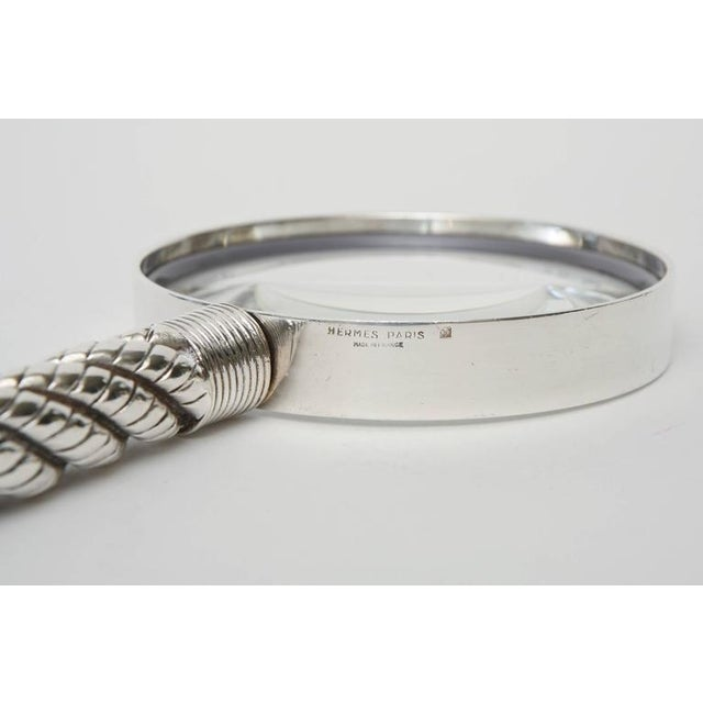 Hermes Vintage Silver-Plate Twisted& Braided Rope Magnifier/ Desk Magnifier - Image 4 of 11