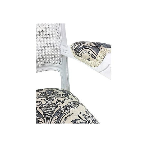 French White Cane & Linen Chair - Image 4 of 5