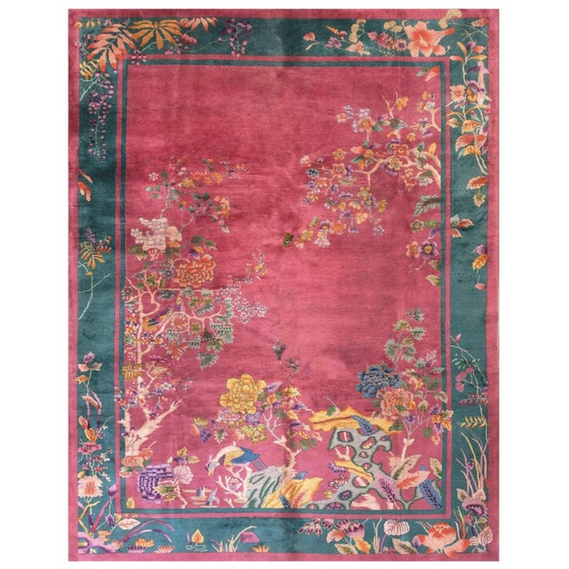"""Textile Antique Chinese Art Deco Rug 9'0"""" X 11'8"""" For Sale - Image 7 of 7"""