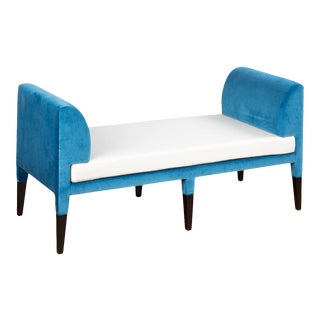 Hayworth Bench in Royal Blue Velvet and White Wool For Sale