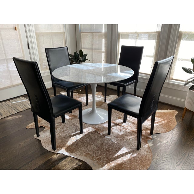 Modern Italian Black Leather Dining Chairs by Arper-Set of 4 For Sale In Houston - Image 6 of 7