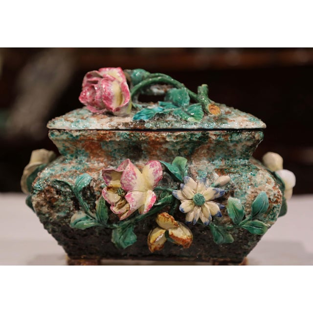 19th Century French Painted Ceramic Barbotine Decorative Box With Floral Motif For Sale - Image 9 of 11