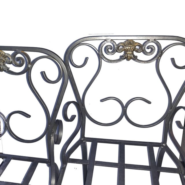 Contemporary Italian Scrolling Wrought Iron Crested Back Gray Bar Stools For Sale - Image 3 of 5