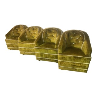 1970s Milo Baughman Green Barrel Club Chairs- Set of 4 For Sale