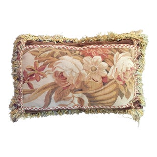 Traditional Aubusson Velvet and Fringe Pillow For Sale