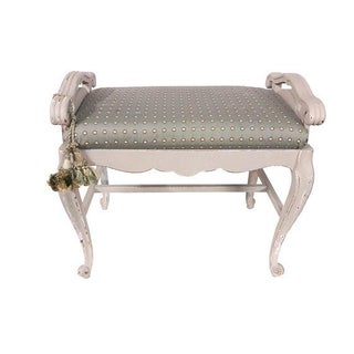 French Carved Upholstered Vanity Bench Preview
