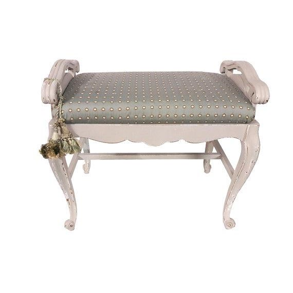 French Louis XVI style upholstered vanity bench, boudoir settee. Classic French curves, cabriole legs and feet, finished...
