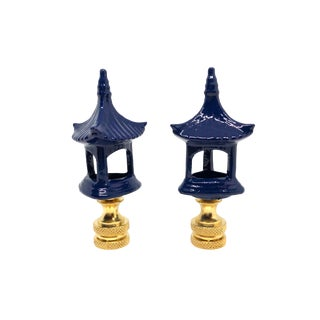 Navy Blue Pagoda Lamp Finials - a Pair For Sale