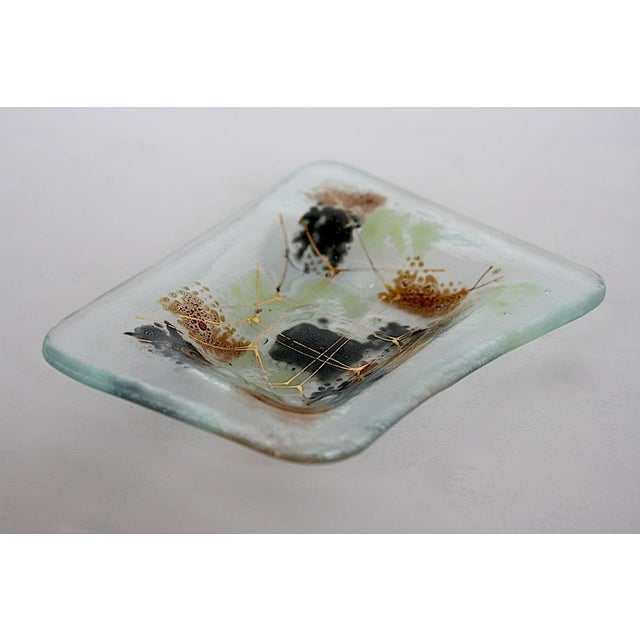 Abstract Vintage Higgins Glass Mid Century Modern Ashtray For Sale - Image 3 of 8