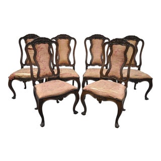 Antique Italian Baroque Carved Walnut Dining Chairs - Set of 6