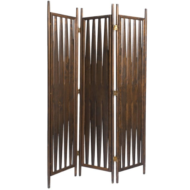 Midcentury Walnut Screen For Sale