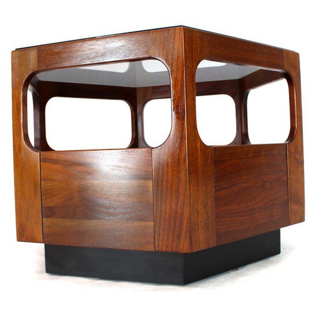 Mid-Century Modern solid walnut smoked glass fitted glass top hexagon end coffee table.