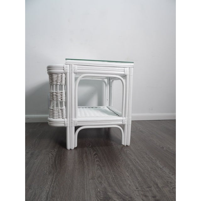 20th Century Boho Chic Bamboo Glass Topped Side Table For Sale - Image 9 of 9