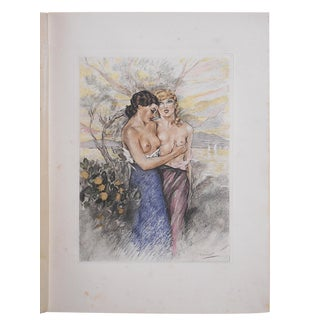 Vintage Ltd. Edition Hand Colored Etching-Signed-Listed French Artist-Edouard Chimot-1936 For Sale