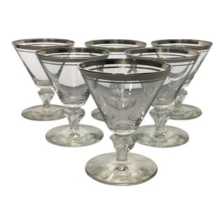Mid Century Modern Platinum Striped Cocktail Glasses - Set of 6 For Sale