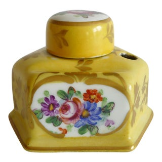 Antique French Yellow Porcelain Inkwell For Sale