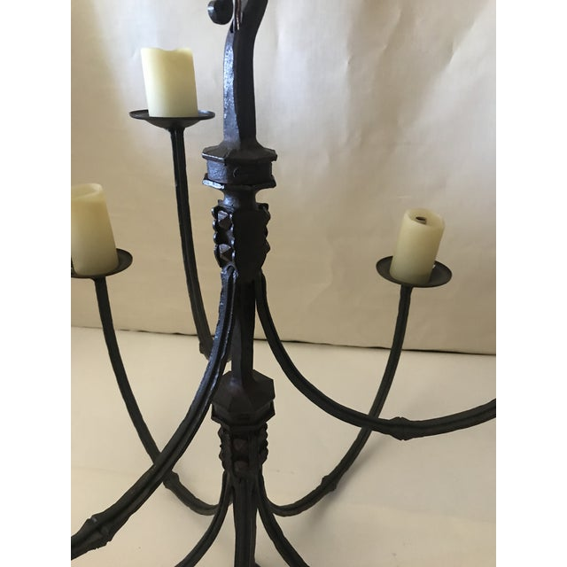 Rustic Rose Tarlow Iron Chandelier For Sale - Image 3 of 9