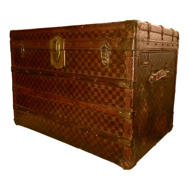 Early 1900s Moynat Damier Pattern Steamer Trunk For Sale