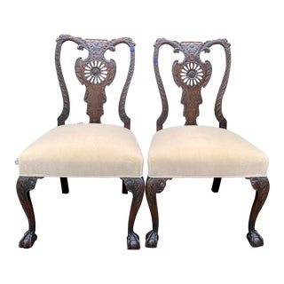 Pair of Antique 19th C Venetian Side Chairs W Mohair Seats For Sale